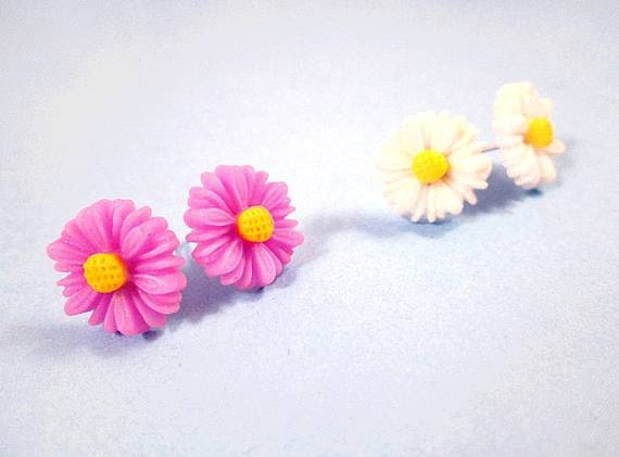 Sale - 2 Pair of Flower Earrings, Lavender and White Daisies, Cabochon and Silver Post Earrings, FREE Shipping U.S.
