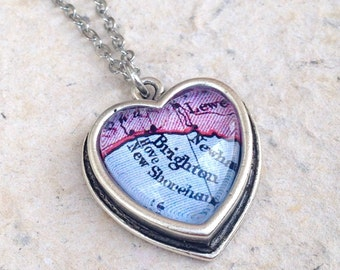 Brighton Map Necklace - Petite heart shaped