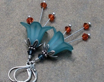 Indian Red & Teal Lucite Flower Earrings, Antique Silver Leverbacks, Swarovski Crystals... Southwest Flower Earrings