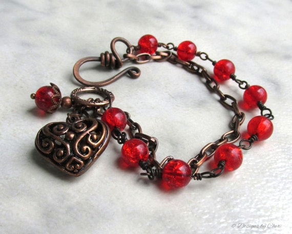 Red Heart Bracelet, Antique Copper Chain & Filigree Charm, Hand Forged Clasp, Double Strand Bracelet... Heart Jewelry