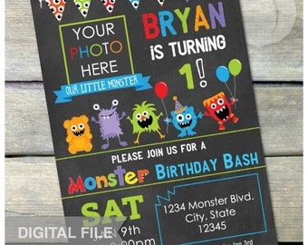 "Little Monster Birthday Bash Party Chalkboard Invitation 1st - Any Age - Photo - Digital Invite - 5"" x 7"" Printable"