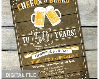 "Surprise 50th Birthday Invitation Cheers & Beers Invite Rustic Wood Country Style - Men Women - 5"" x 7"" Digital Invite"