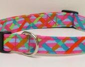 Pink Lattice Patterned  Handmade Dog Collar
