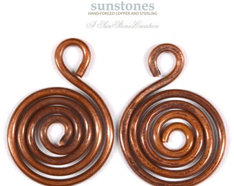 Handmade Rustic Copper Jewelry Components - 2 pieces JC429