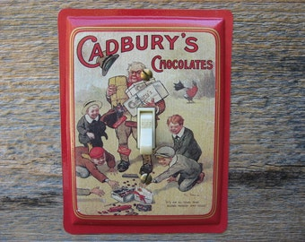 Light Switch Cover Switchplate Red Switch Plate Made From An Old Cadburys Chocolate Advertising Decor Tin Can SP-0239