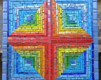 Rainbow Log Cabin Quilt Mosaic