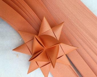 "1/2"" 3/4"" 1"" Weaving Star Paper~ Shimmer Pumpkin (50 strips)"