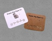 Personalized Earring cards, custom printing, set of 30 2 x 2.5 inch, Kraft, White, Cream