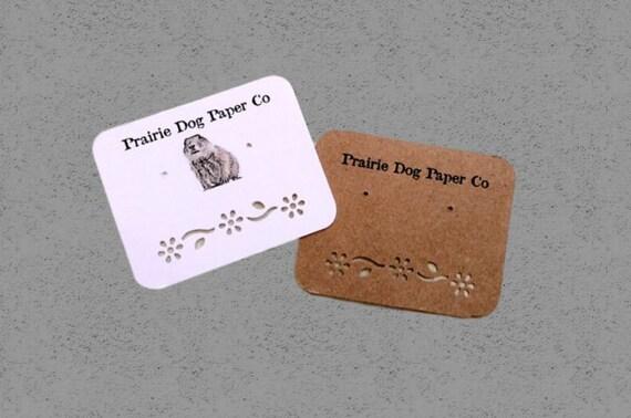 Personalized Earring cards, custom printing, set of 30 2 x 2.5 inch, Kraft, White, Cream