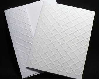 Quatrefoil Embossed Note Cards - Set of 5, Quatrefoil Notecards, Blank Cards, Thank You Cards, Stationary cards - With Embossed Envelopes
