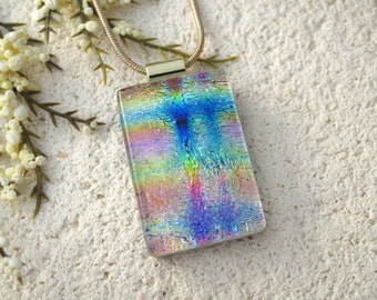 Dichroic Jewelry. Rainbow Necklace,  Pink Blue Gold Fuchsia Necklace, Fused Glass Jewelry, Dichroic Pendant, Gold Necklace 102315p103
