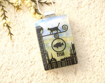 Cat Necklace, Cat Jewelry, Fused Glass Jewelry, Cat Pendant, Glass Necklace, Glass Jewelry, Fish Monger Cat, Silver Necklace, 121115p103