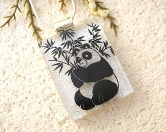 Panda Jewelry, Panda Necklace, Dichroic Jewelry, Glass Jewelry, Fused Glass Jewelry, Dichroic Jewelry,Silver Necklace Included, 020316p104