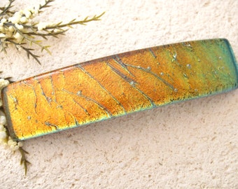 Large Hair Barrette, Gold Barrette, Dichroic Jewelry, French Barrette, Glass Barrette, Fused Glass Jewelry, Dichroic Barrette, 021316ba107