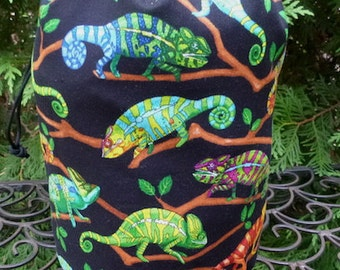 Iguana knitting project bag, WIP bag, drawstring bag, Suebee