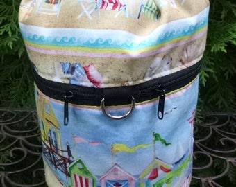 Beach knitting bag, knitting in public drawstring bag, knitting project bag, WIP, Beach Village, Kipster
