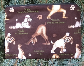 Dog zippered bag, makeup case, zippered pouch, accessory bag, Yoga Dogs, The Scooter