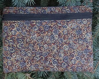 Large clutch, optional wristlet or shoulder strap, diabetic supply case, Swirls, The Morning Glory