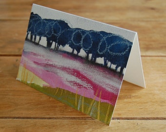 Birches and Heather Moor - greeting card