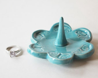 Ring Holder, Ring Dish, Ring Bowl, Glazed in Sea Isle Blue Turquoise