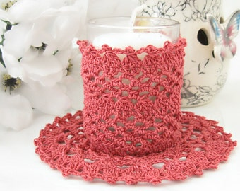 Country Rose Lace Cottage Chic Votive Candle Holder, Lace Votive Candle Sleeve, Rustic Chic Room Accessory, Home Decorations