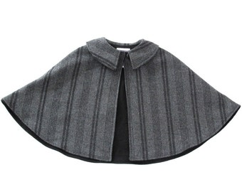 Boys' or Girls' Wool Cape in Charcoal Striped Wool with Black Flannel Lining - Size Newborn to 9/10 - Winter Jacket, Coat, Capelet, Poncho