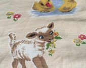 Retro lamb ducks & bunny nursery fabric curtain