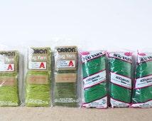 Vintage Green PreCut Acrylic Latch Hook Rug Yarn – Caron Avacodo #0137-1, Chartreuse #0136-8 / WonderArt #4575 - 6 Pks