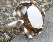 Citrine Ring - Mexico - Very Large  Stone Vintage Sterling Silver 925 - US ring size 8