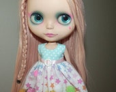 Pastel Rainbow Star pom-pom Dress for Blythe and Pullip