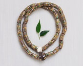 "Vintage African Glass Trade Beads - fancy hand painted sand cast cylinders - brown gold green white 29"" strand"