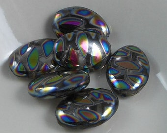 2 pcs Czech Glass Beads Flat Oval Silver With Aurora Borealis Cateye 14x20mm  SRB-CP14x20-SABC