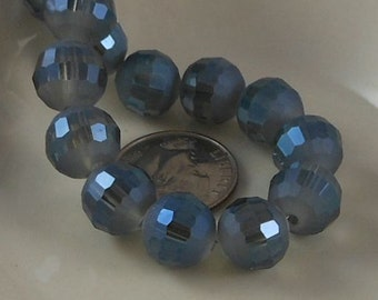 Faceted Frosted Round Crystal Beads 5 Color Choices AB 6 pcs 10mm PH-FF10mm-MONB