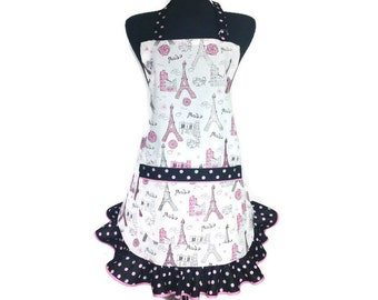 Eiffel Tower Apron for girls, Retro Style polka dot ruffle, Sparkles, French kitchen decor