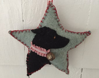 Italian Greyhound Dog Breed Ornament, Vintage Wool Star, Christmas Tree, Wall / Door Hanger, Bowl Filler