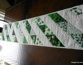 Quilted Table Runner, St. Patrick's Day, Shamrocks, Irish, Flying Geese Pattern, Handmade, Table Linens, One of a Kind (OOAK)