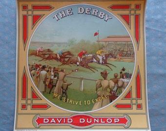 "Original 1800's David Dunlop ""The Derby"" Plug Tobacco Caddy Lithograph Label"