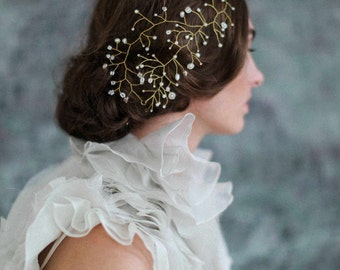 Bridal hair adornment - Floating pearl and bead hair wisp - Style 718 - Made to Order