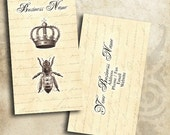 Antique Queen Bee Design Crown Business Card Template Digital INSTANT DOWNLOAD 3.5 x 2 Inches Vintage Style Calling Card (BC10)