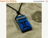 zodiac Pendant Gemini sign Blue Dichroic Glass Pendant with Greek leather cord valentines day sale..