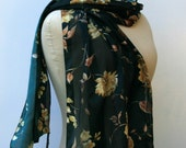 Vintage Italian scarf, woman Scarf, Bohemian dark green BoHo scarf, classic women floral fall summer scarf, flower print scarf