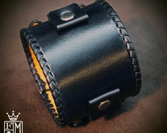 Leather bracelet cuff Black vintage Johnny Depp style watchband whipstitched cuff Best quality Made in NYC for YOU by Freddie Matara