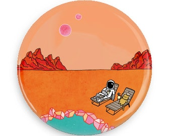 Funny Button Astronaut Cat Button Brave Moonman Space Man Sci Fi Cute Magnet Outer Space Cat Mars Pocket Mirror