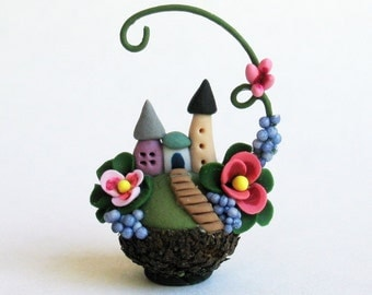 Miniature  Charming Whimsy Fairy House Colony in Acorn Cap with Vine OOAK by C. Rohal