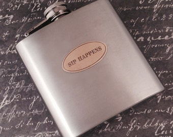 Personalized Stainless Steel Hip Flask Whiskey Flask Groomsmen Gift