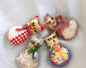Pick-A-Kitty - Miniature Tailless Kitty Cat Quilty Critter Magnets, OOAK, Folk Art, Novelty