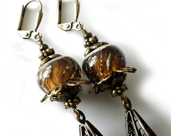 Lampwork Earrings, Long Antique Brass Filigree Drops, Golden Honey Brown, Gray, Leverbacks, Beaded Jewelry, Boho, Beaded Earrings, OOAK