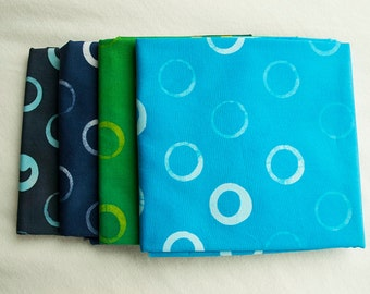 Bubble Hand Patterned and Dyed Cotton Fat Quarter and Half Yard Bundles/ Cool Colors