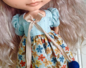 Dress for Blythe - Turquoise Print and Basic Grey Floral