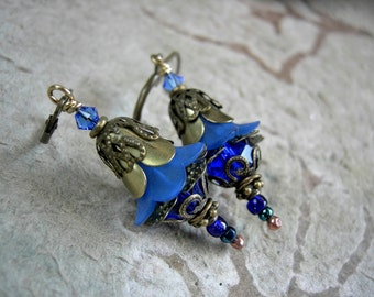 Rich Cobalt Fairy Flower Earrings .Faery Bells .Sparkling Crystal, Something Blue, Bluebells, Whimsical, Magical, Elksong Jewelry